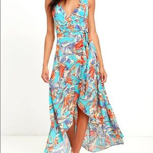Turquoise floral Lulu's wrap dress large
